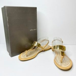 Pilar Abril Nude Leather T-Strap Sandals